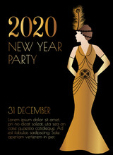 2020 New Year Art Deco Style Party Invitation Design With Woman In Gold Dress