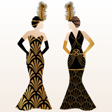 Art Deco Illustration Design With Women In Gold Pattern Dress