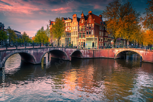 Dutch water canals and great cityscape at sunset, Amsterdam, Netherlands Canvas Print