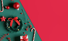 Christmas Decorations On Green And Red Background. 3d Rendering