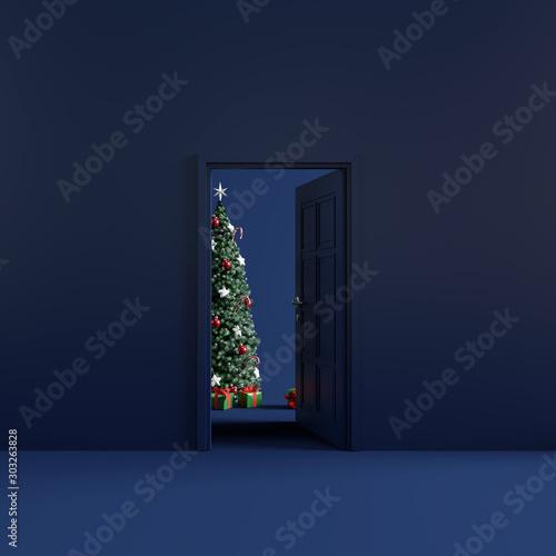 Obraz Christmas room with open door. 3d rendering - fototapety do salonu