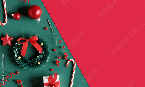 Fotomural Christmas decorations on green and red background. 3d rendering