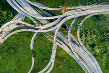 Drone Aerial View Of Massive Highway Interchange