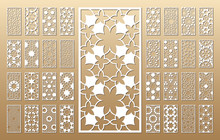 Laser Cut Vector Panels (ratio 1:2). Cutout Silhouette With Geometric Seamless Pattern. The Set Is Suitable For Engraving, Laser Cutting Wood, Metal, Stencil Manufacturing.