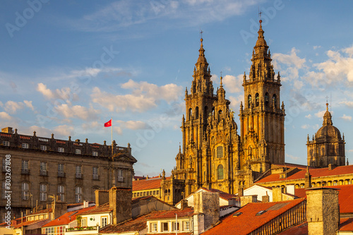 Santiago de Compostela Cathedral Towers Close Up with Sun Light Hitting the faca Fototapete