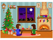 Decorated room for the new year and Christmas, with people waiting for the holiday. Vector illustration on a holiday theme with a fireplace and a Christmas tree.