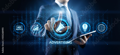 Fotografía  Advertising Marketing Sales Growth Business concept on screen.