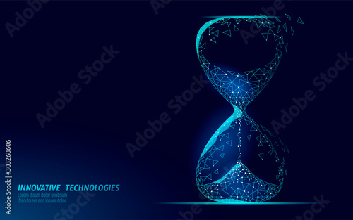 Fotografie, Tablou Hourglass 3D low poly dark time of life concept