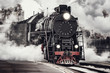 canvas print picture - Steam train departs from Riga railway station. Moscow. Russia.