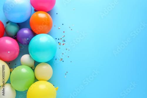 Many balloons on color background Fototapeta