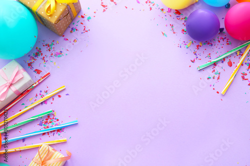 Obraz Composition with balloons, gifts and place for text on color background - fototapety do salonu