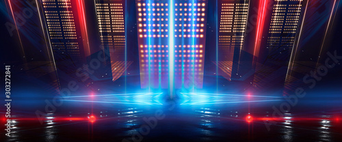 Background of empty show scene. Empty dark modern abstract neon background. Glow of neon lights on an empty stage, diodes, rays and lines. Lights of the night city. - 303272841