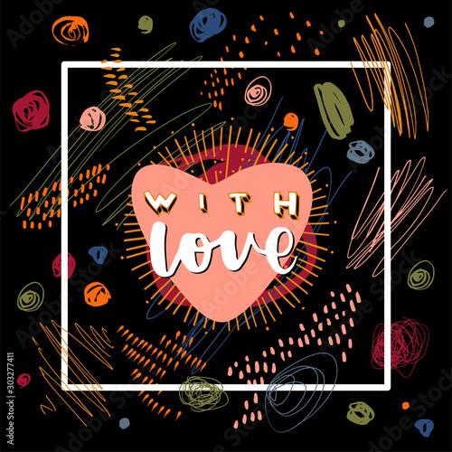 Obraz na plátně With Love calligraphic postcard