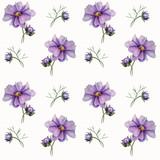 Seamless pattern of watercolor flowers.