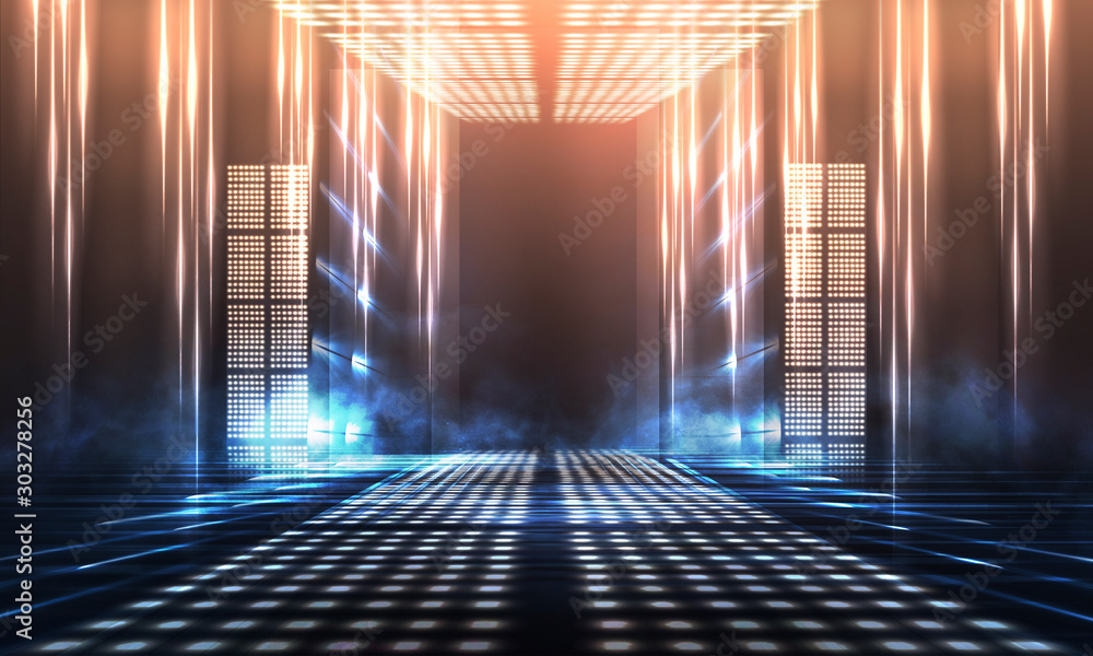 Fototapety, obrazy: Background of empty show scene. Empty dark modern abstract neon background. Glow of neon lights on an empty stage, diodes, rays and lines. Lights of the night city.