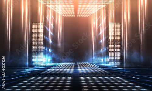Background of empty show scene. Empty dark modern abstract neon background. Glow of neon lights on an empty stage, diodes, rays and lines. Lights of the night city. - 303278256