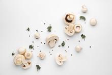 Fresh Mushrooms On White Background