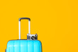 canvas print picture - Packed suitcase and photo camera on color background. Travel concept