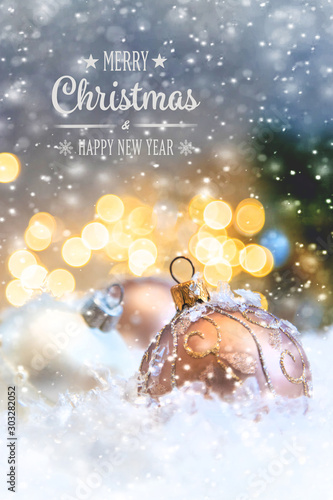 Obraz Merry Christmas and Happy New Year, Holidays greeting card background. Selective focus. - fototapety do salonu