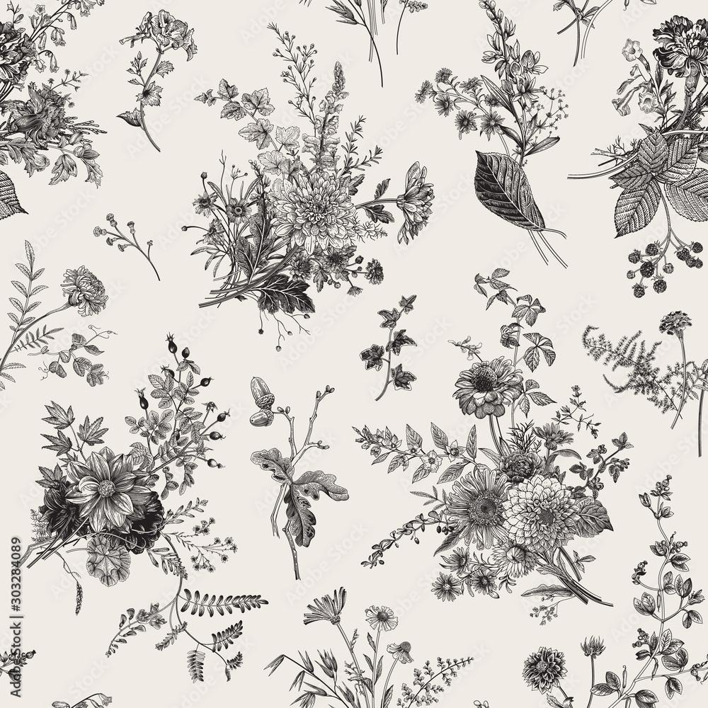 Wzór. Jesienny wzór kwiatowy. Klasyczna ilustracja. Czarny i biały <span>plik: #303284089 | autor: OlgaKorneeva</span>