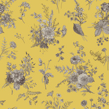 Vintage Floral Illustration. Seamless Pattern. Autumn Floral Pattern. Yellow And Gray