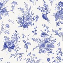 Seamless Pattern. Autumn Floral Pattern. Classic Illustration. Toile De Jouy