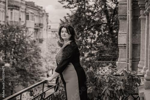 Canvas Prints Illustration Paris Plus size middle age woman in elegant classic dress, fashionable concept