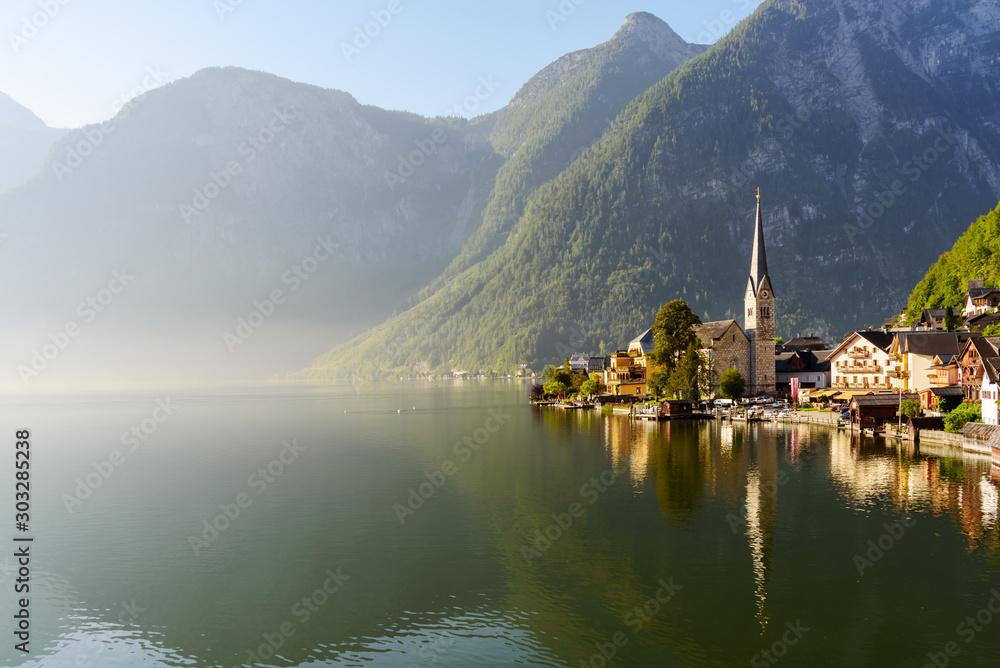Fototapety, obrazy: Hallstatt mountain village view in the morning, Uper Austria