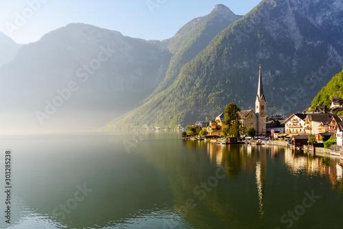 Hallstatt mountain village view in the morning, Uper Austria
