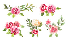Watercolor Roses. Flowers, Leaves. Bouquets Set Isolated