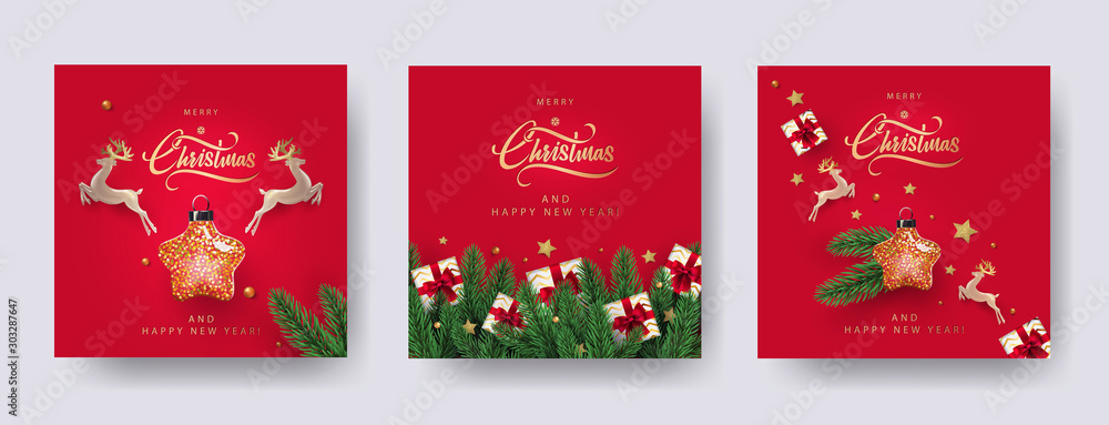 Fototapety, obrazy: Set of Christmas and New Year greeting cards with xmas decoration. Winter Holiday Posters or banners design in modern realistic style with fir branches, gift boxes, christmas tree toys deer and stars