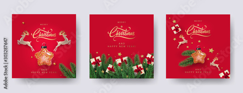 Fototapeta Set of Christmas and New Year greeting cards with xmas decoration. Winter Holiday Posters or banners design in modern realistic style with fir branches, gift boxes, christmas tree toys deer and stars obraz