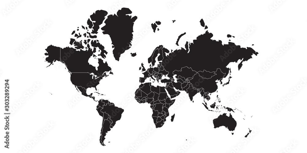 Fototapety, obrazy: World map black , white background isolated . Vector illustration.