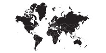 World Map Black , White Backgr...