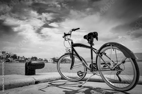 Recess Fitting Bicycle Vintage style bicycle standing on Pier of marina Zeas, Piraeus Greece ,