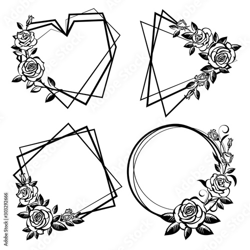 Collection of geometric frames with roses #303292666
