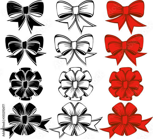 Set of bows of various shapes. #303292677