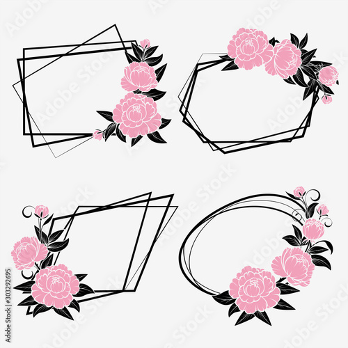 Set of frames with roses for greeting card.Isolated #303292695