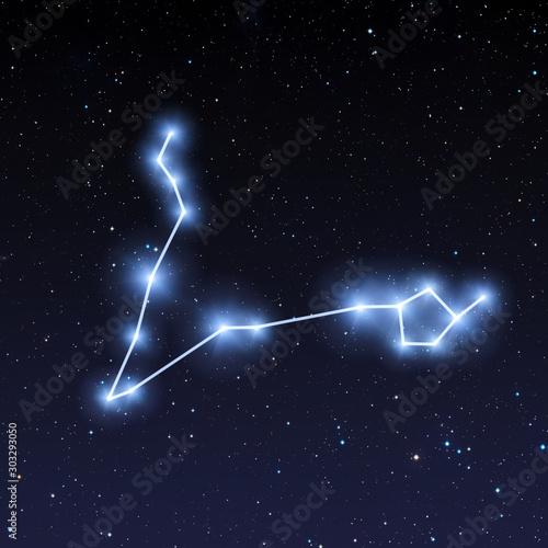 Fényképezés Pisces constellation map in starry sky