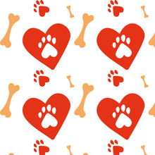 Paws Pattern. I Love Animals, My Pet, My Dog And Cat. Desigh For Pets Fabric And Textile. Simple Composition. Print For Textiles And Posters Of Veterinary Clinics. Silhouette Of Cute Paws.  Vector Eps
