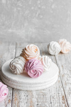 Assorted Different Flavors Of Homemade Marshmallows. Peach, Pink And White Marshmallows.