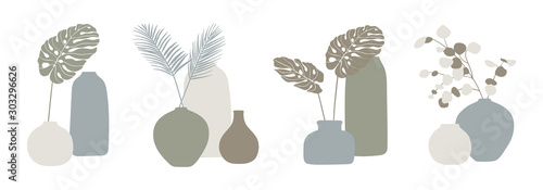 Trendy design for greeting cards, invitations, posters. Vases and tropical leaves set. Modern vector illustration.