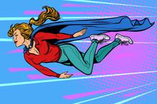 Woman Superhero Flies. Female ...