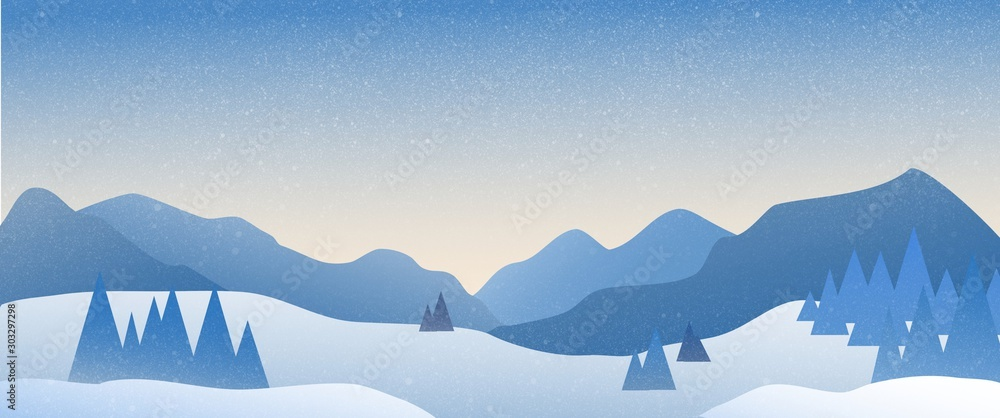 Fototapety, obrazy: Panoramic landscape of snowy mountain with the sun rising in the horizon.