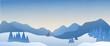 Leinwandbild Motiv Panoramic landscape of snowy mountain with the sun rising in the horizon.