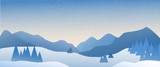Fototapeta Fototapety na ścianę - Panoramic landscape of snowy mountain with the sun rising in the horizon.
