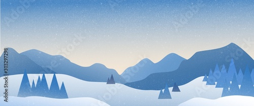 Panoramic landscape of snowy mountain with the sun rising in the horizon. - 303297298