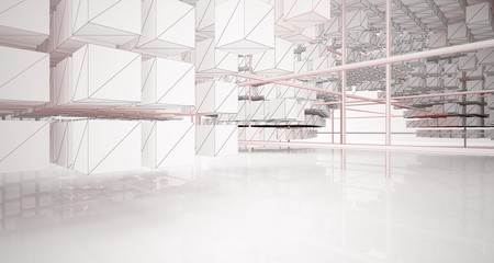 Drawing abstract architectural white interior from an array of cubes with large windows. 3D illustration and rendering.