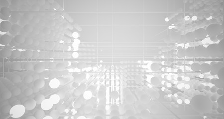 Abstract white architectural interior from an array of spheres with neon lighting. 3D illustration and rendering.