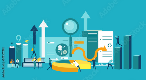 Lots of little business people working together against of note pad, graphs and growth bars, arrows and puzzle pieces and gears, Busy modern life, working together concept, advisory and support Wallpaper Mural